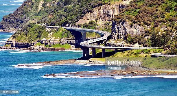 Aerial view of Sea Cliff Bridge Wollongong