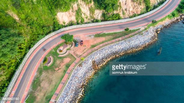 Aerial view of sea coastal road