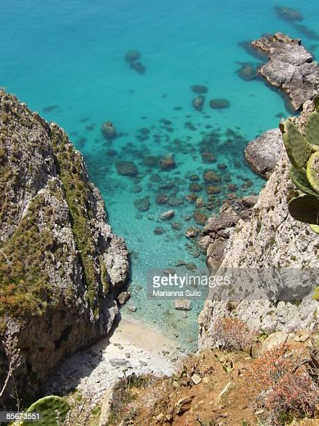 Aerial view of sea coastline and rocks