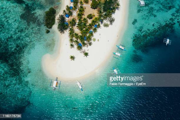 aerial view of sea - palawan stock pictures, royalty-free photos & images
