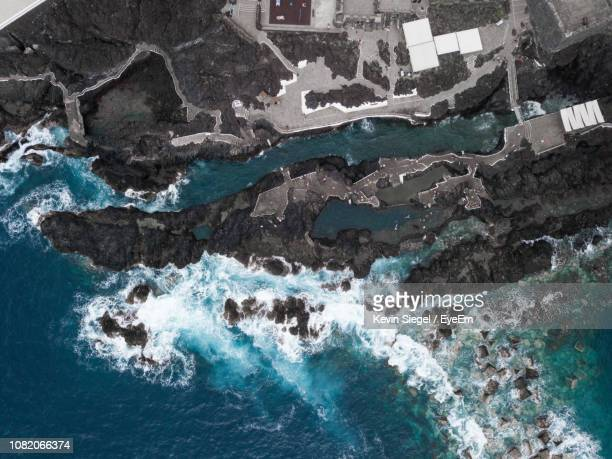 Aerial View Of Sea Waves Splashing On Coastline