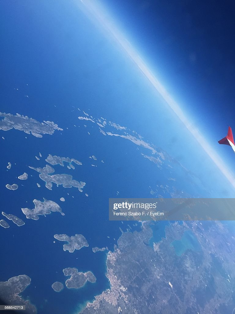 Aerial View Of Sea With Cropped Airplane : Stock Photo