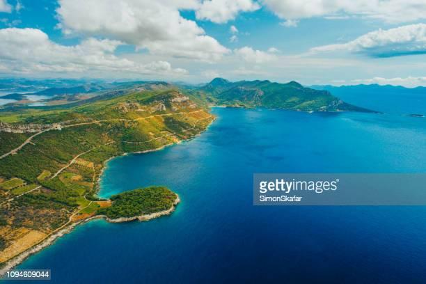 aerial view of seacoast,peljesac peninsula,croatia - peninsula stock pictures, royalty-free photos & images