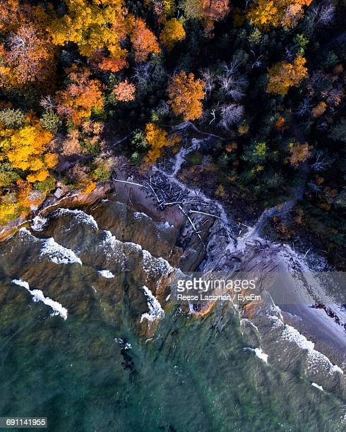 aerial view of seashore during autumn - munising michigan stock pictures, royalty-free photos & images
