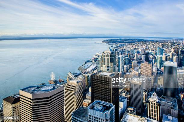 Aerial View of Seattle coastal skyline,Washington State,USA