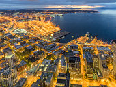 Aerial View of Seattle Downtown at Night