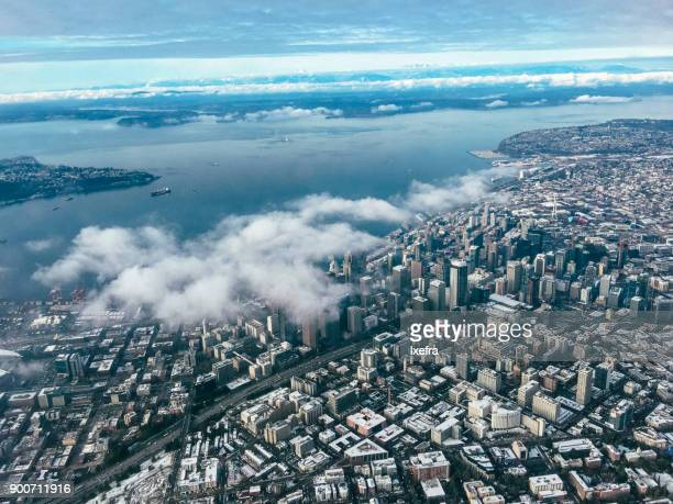 Aerial view of Seattle downtown.