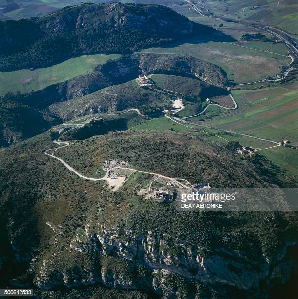 Aerial view of Segesta with the theatre and Doric temple Sicily Italy