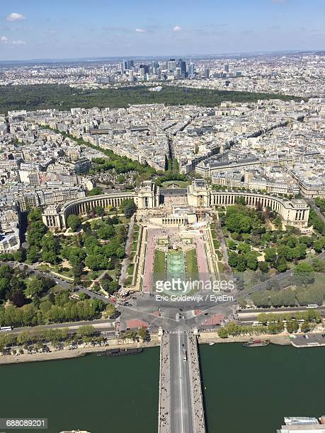Aerial View Of Seine River And Quartier Du Trocadero Seen From Eiffel Tower