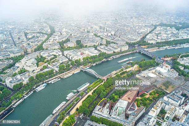 aerial view of seine river in paris - river seine stock pictures, royalty-free photos & images