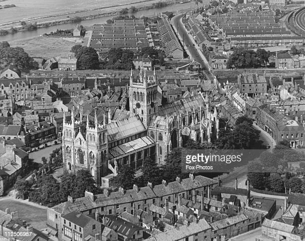 Aerial view of Selby Abbey Yorkshire circa 1960