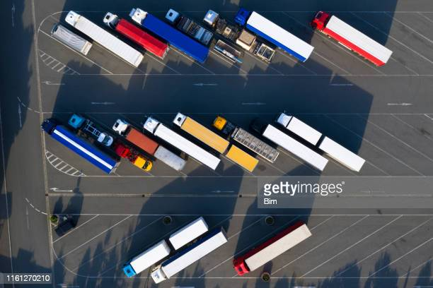 aerial view of semi trucks - food distribution stock pictures, royalty-free photos & images