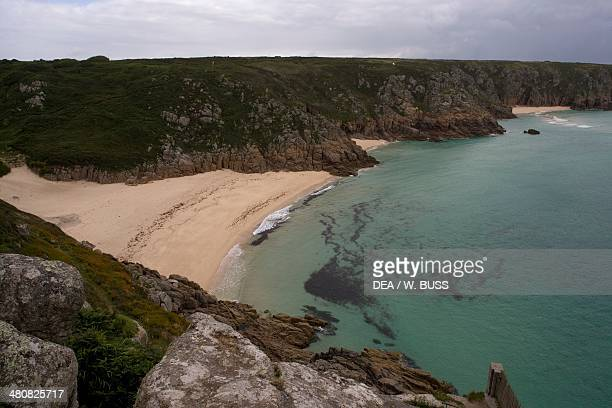 Aerial view of Sennen Beach at Land's End Cornwall England United Kingdom