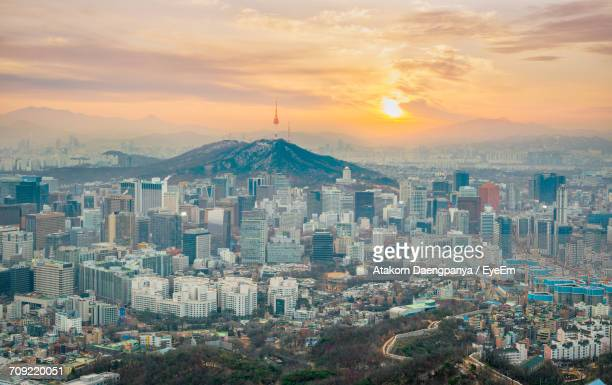 Aerial View Of Seoul At Sunset