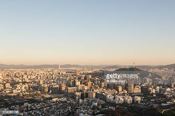Aerial view of Seoul during sunset
