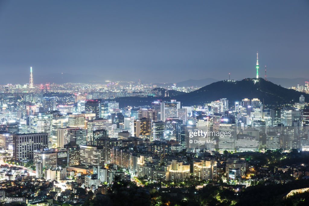 Aerial View Of Seoul Skyline At Night In South Korea ...