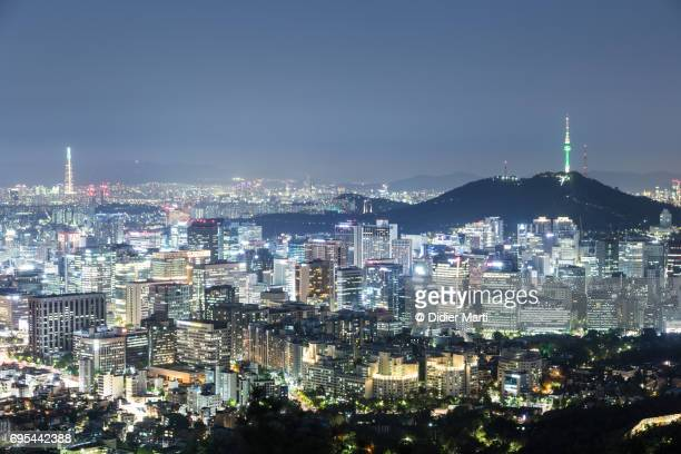 Aerial view of Seoul skyline at night in South Korea capital city
