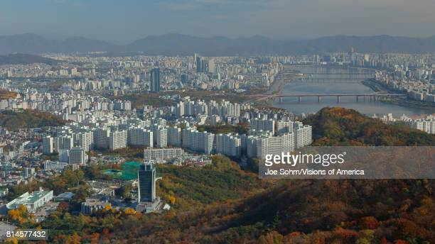 Aerial view of Seoul South Korea Skyline Asia view from Seoul Tower hilltop