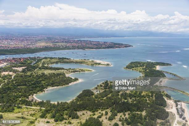 aerial view of serangan island in bali, indonesia - denpasar stock pictures, royalty-free photos & images