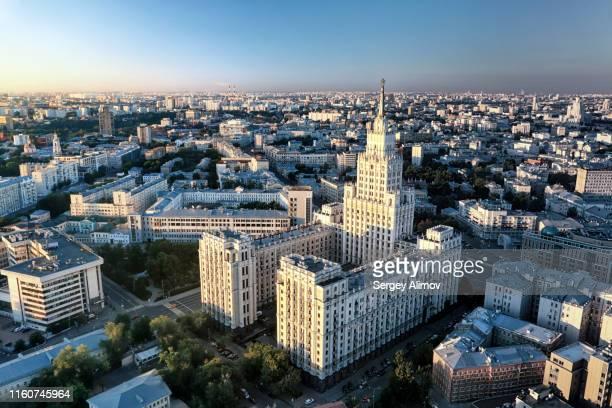 aerial view of seven sisters stalinist skyscraper in sunrise smooth light - moscow skyline stock pictures, royalty-free photos & images