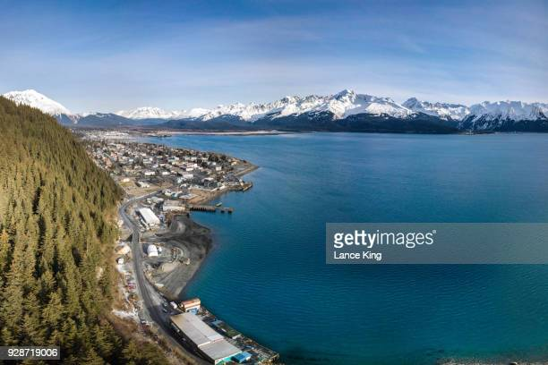 aerial view of seward, alaska and resurrection bay - lance king stock photos and pictures