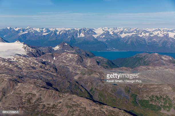 aerial view of seward and resurrection bay on a clear summer day, mountains in the foreground and background, kenai peninsula, south-central alaska - golfo do alasca imagens e fotografias de stock