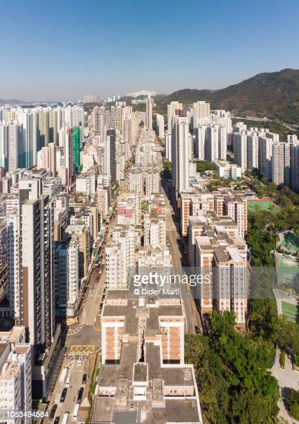 Aerial view of Sham Shui Po district in Kowloon, Hong Kong