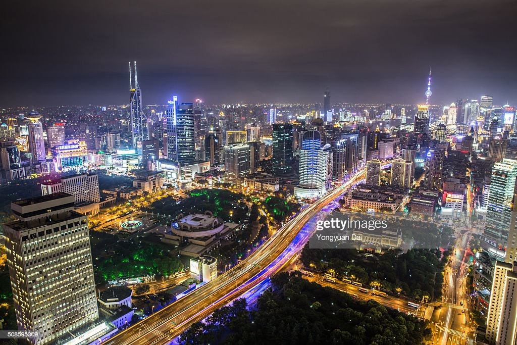Aerial View of Shanghai at Night : Foto de stock