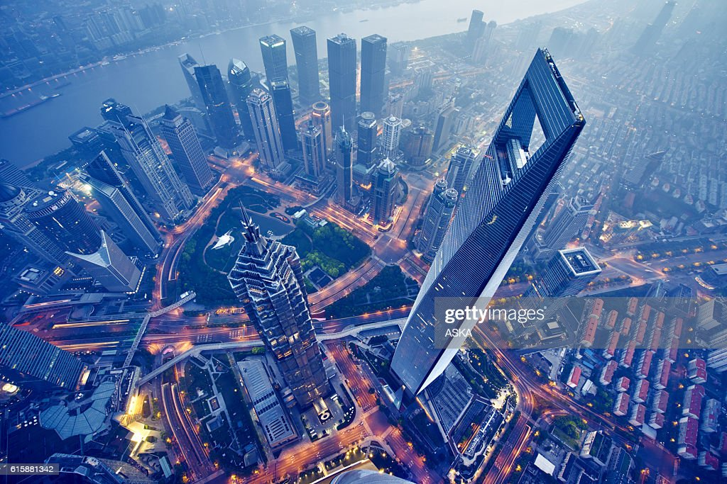 aerial view of shanghai at night : Stock Photo