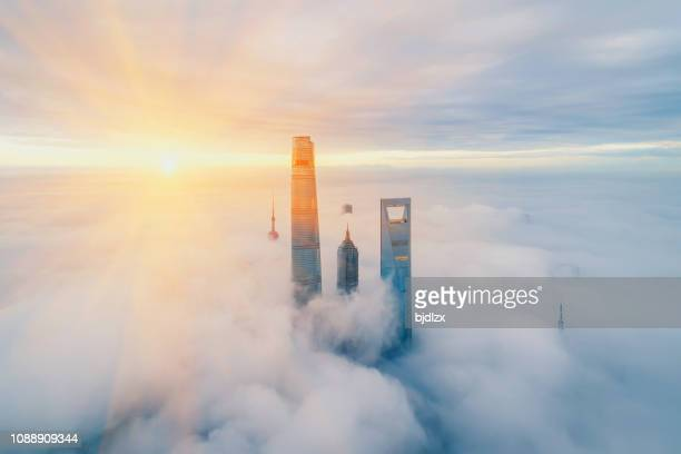 aerial view of shanghai at sunrise - skyscraper stock pictures, royalty-free photos & images