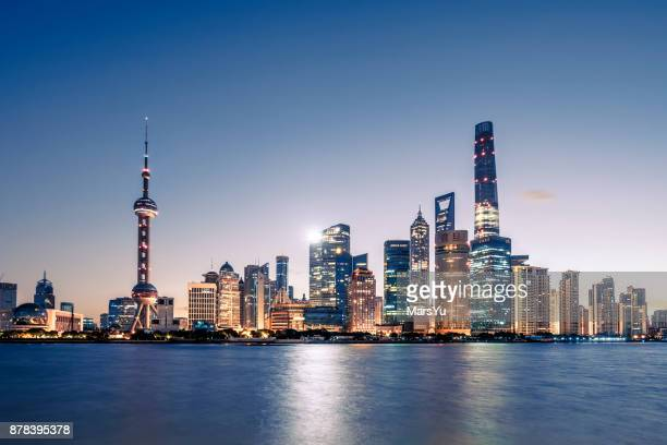 aerial view of shanghai at sunrise - lujiazui stock photos and pictures