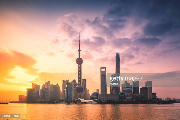 aerial view of shanghai at sunrise - gold rush imagens e fotografias de stock