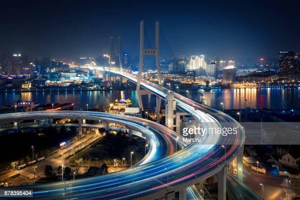 Aerial view of Shanghai Bridge at Night
