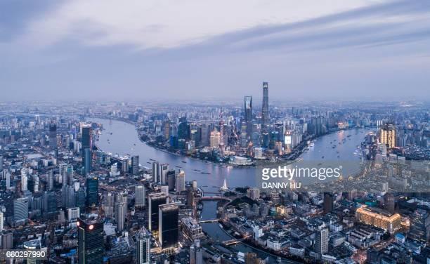 aerial view of Shanghai bund at dusk