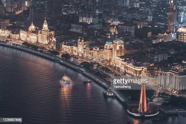 aerial view of shanghai bund in night - china east asia stock pictures, royalty-free photos & images