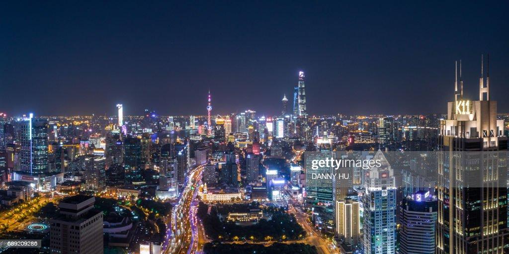 Aerial view of Shanghai CBD at night : Stock Photo