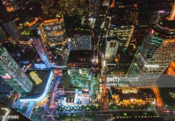 aerial view of Shanghai CBD at night