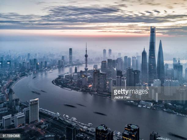 Aerial view of Shanghai City at Sunrise