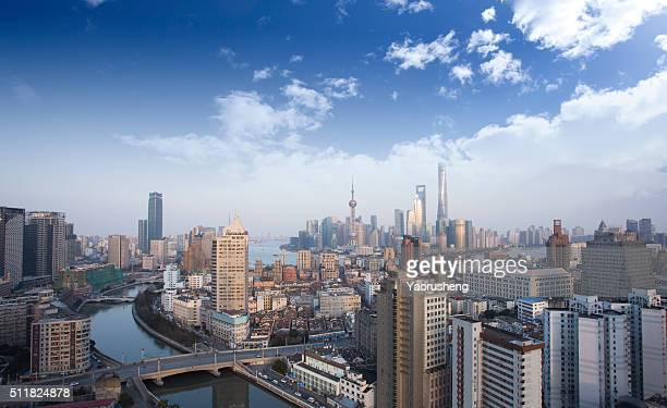 Aerial view of Shanghai city building and skyline