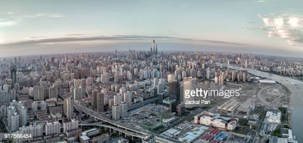 Aerial View of Shanghai City during Twilight