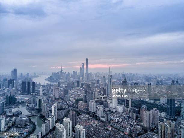 Aerial view of Shanghai City in Twilight