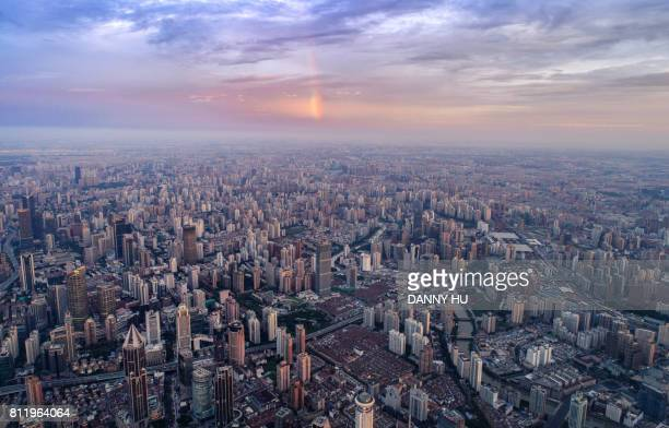 aerial view of Shanghai city with rainbow