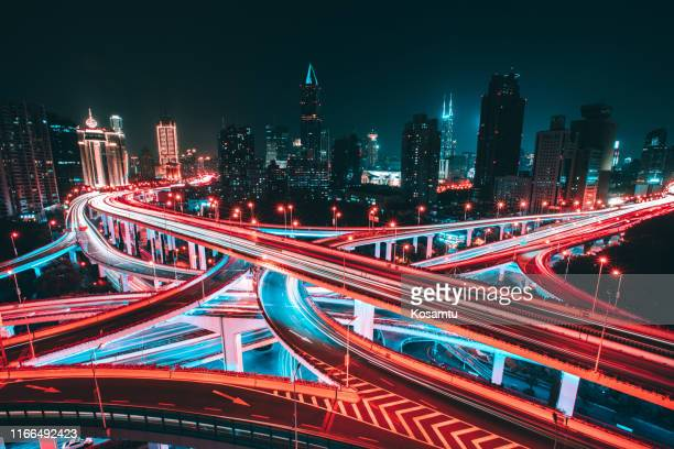 aerial view of shanghai elevated highway - long exposure stock pictures, royalty-free photos & images