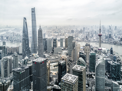 Aerial View of Shanghai Financial District after Snow - gettyimageskorea