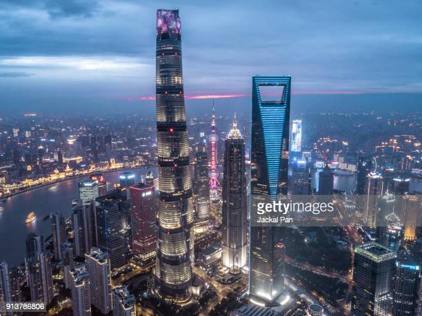 aerial view of shanghai financial district - shanghai tower shanghai stock pictures, royalty-free photos & images