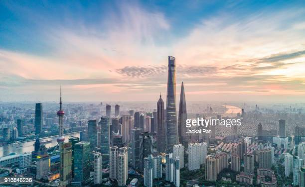 aerial view of shanghai financial district with sunrise - skyline photos et images de collection