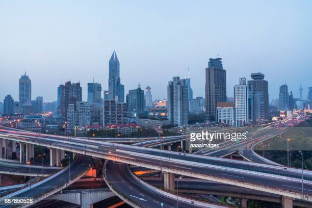 aerial view of Shanghai highway at dusk