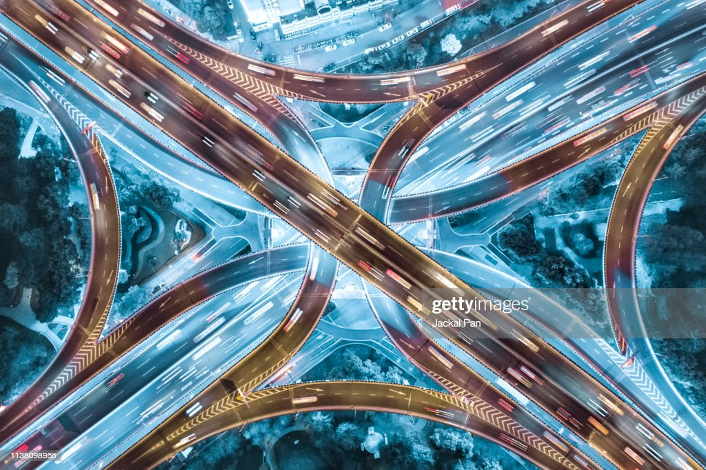 Aerial View of Shanghai Highway at Night : Foto stock