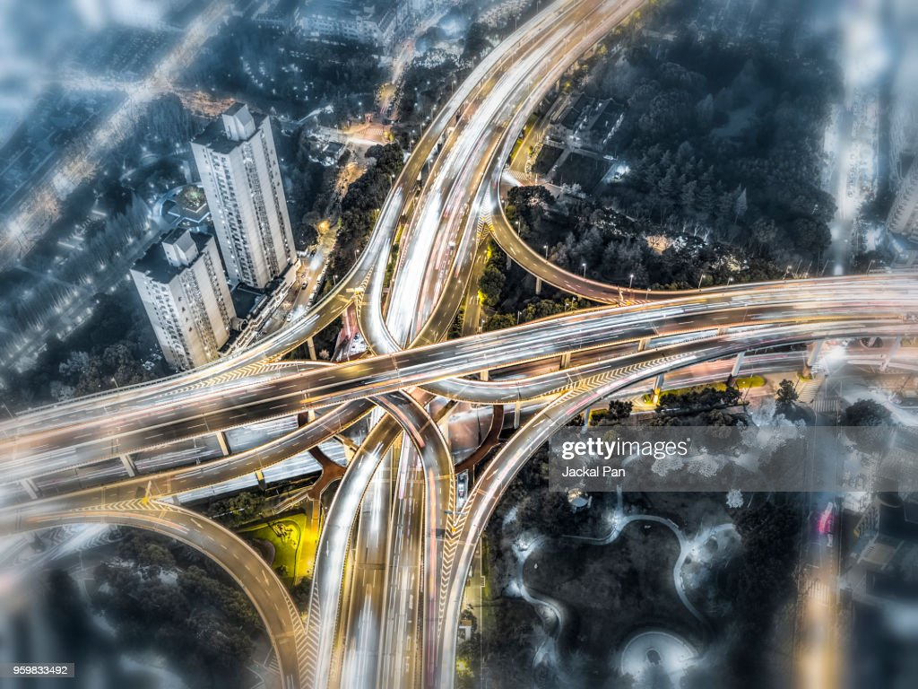 Aerial View of Shanghai Highway at Night : Stock-Foto