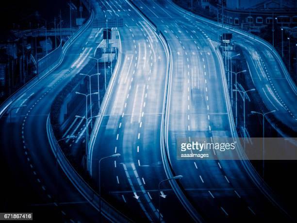 aerial view of Shanghai highway in blue tone